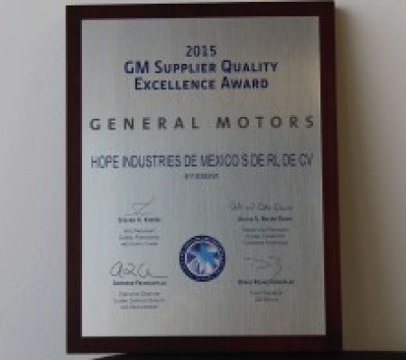 Hope Global - GM Supplier Quality Excellence Award